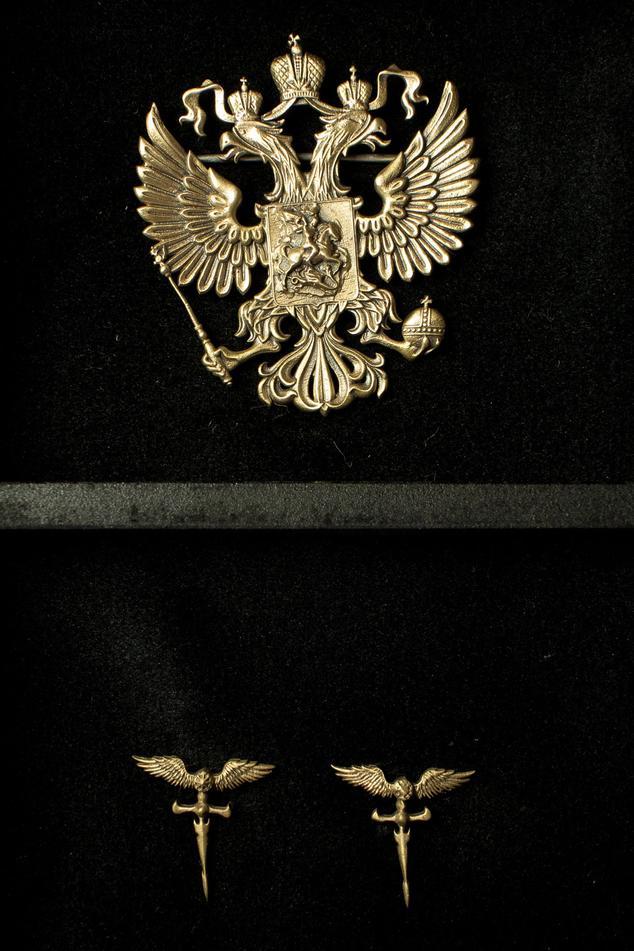 Phoenix Brooch & Roman Sword Collar Tips Set