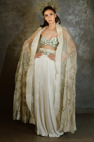 Embroidered Cape & Pant Set