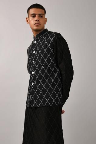 Embroidered Checkered Nehru Jacket
