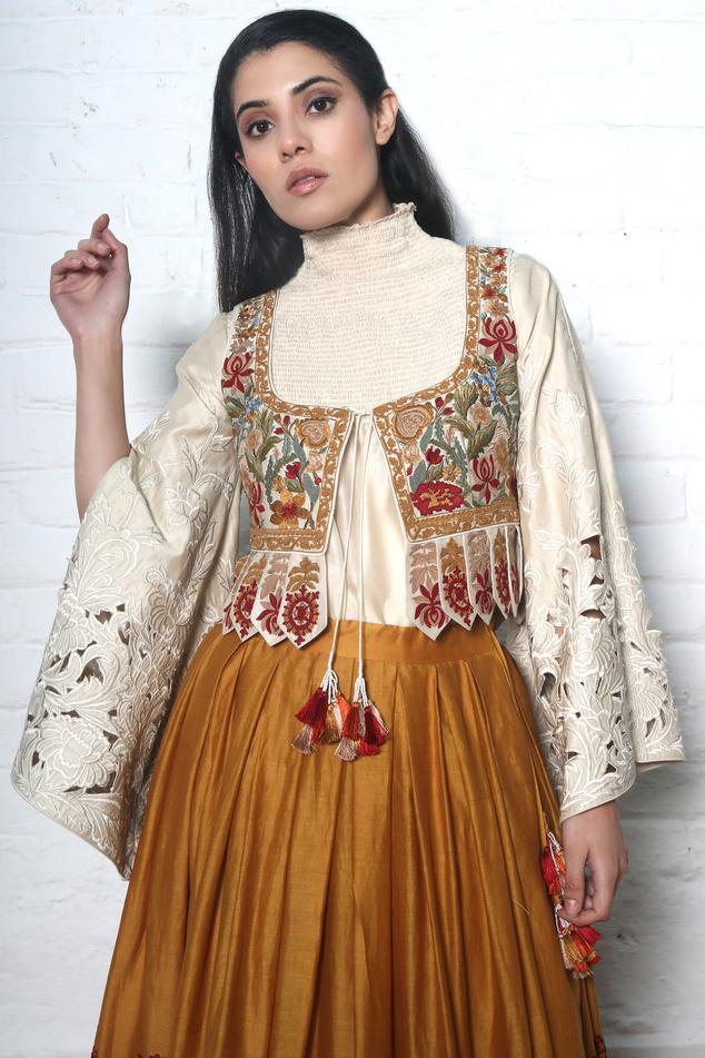 Chanderi Embroidered Jacket