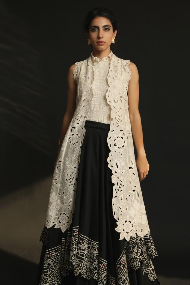 Chanderi Cutwork Long Jacket