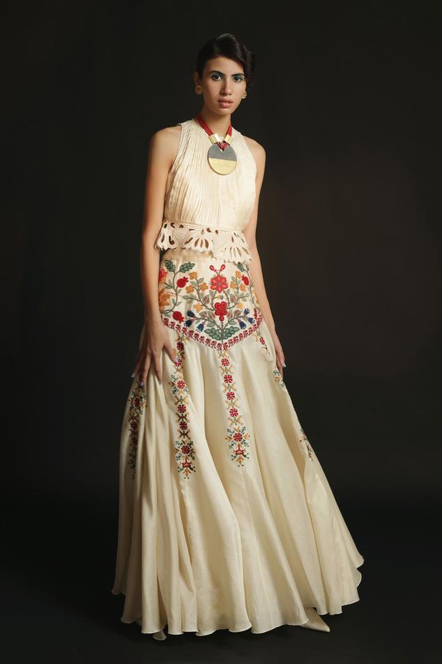Chanderi Embroidered Lehenga