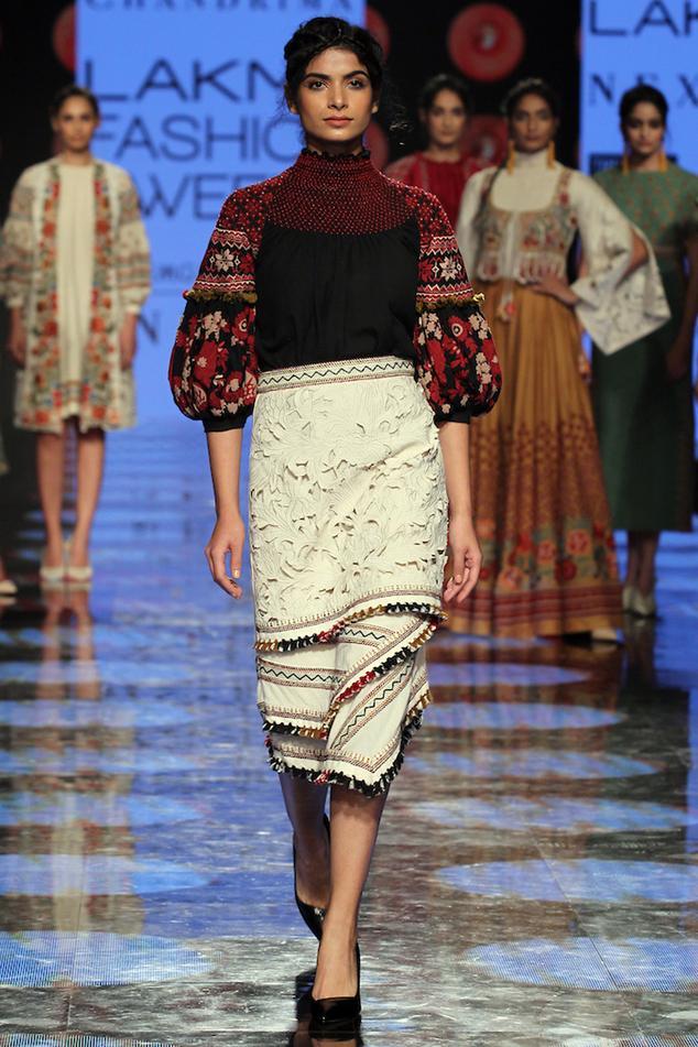 Asymmetric Embroidered Skirt