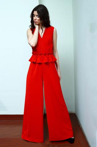 Pleated Peplum Jumpsuit