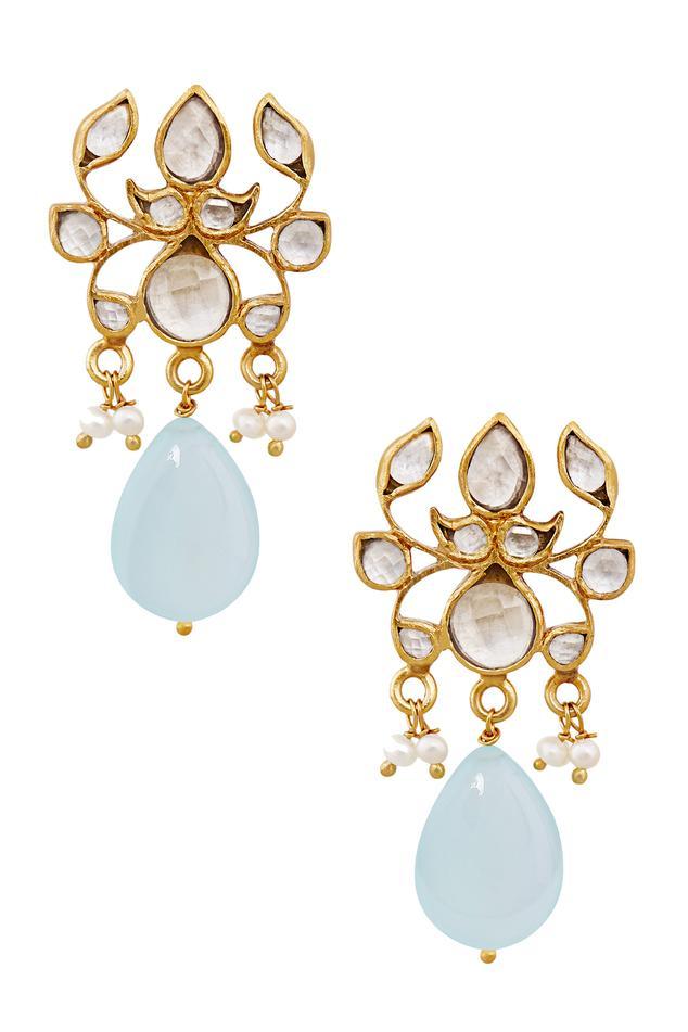 Lotus Aquamarine Drop Earrings