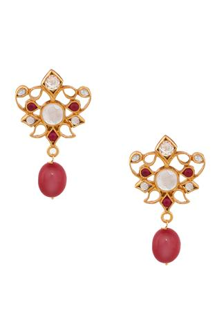 Red Quartz Enamel Earring