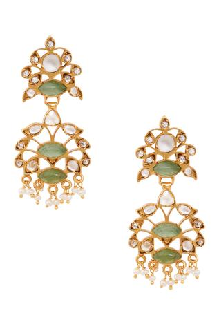Ethnic Green Quartz Earrings