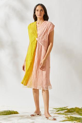 Crushed Chanderi Knotted Dress