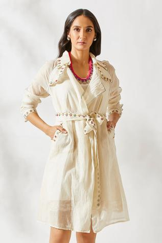 Chanderi Embroidered Trench Dress with Inner