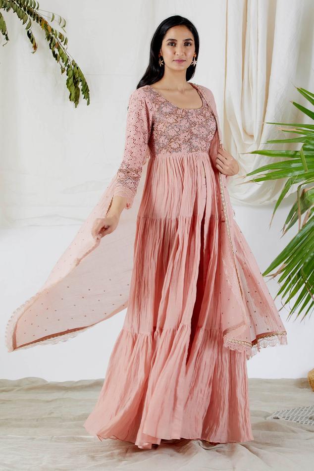 Embroidered Chanderi Anarkali & Pant Set