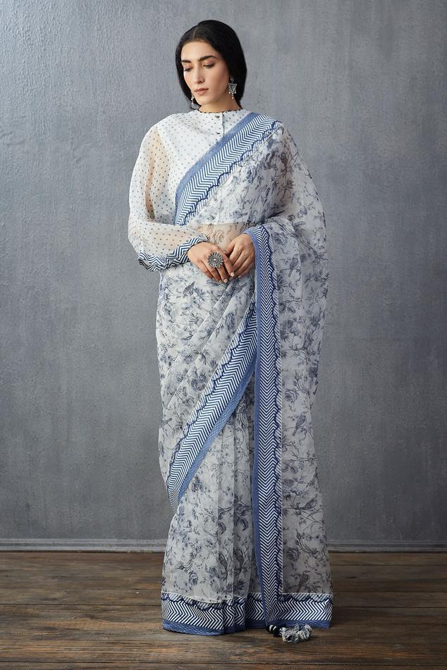 Organza Silk Floral Print Saree