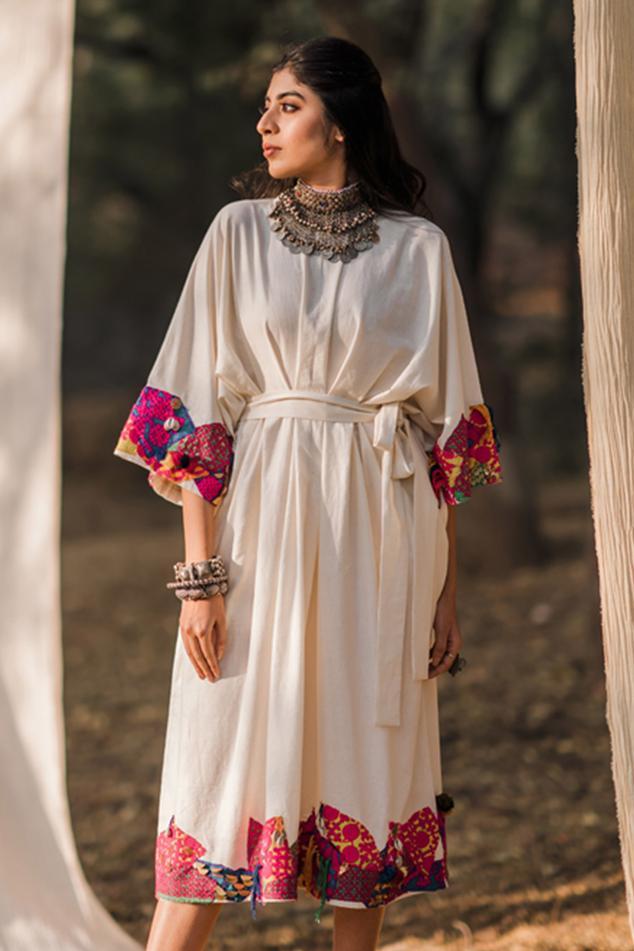 Handloom Cotton Patchwork Kaftan Dress