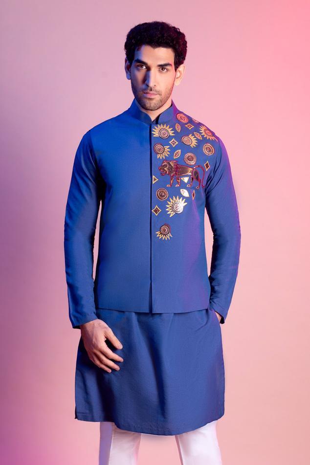 Embroidered Bundi & Kurta Set