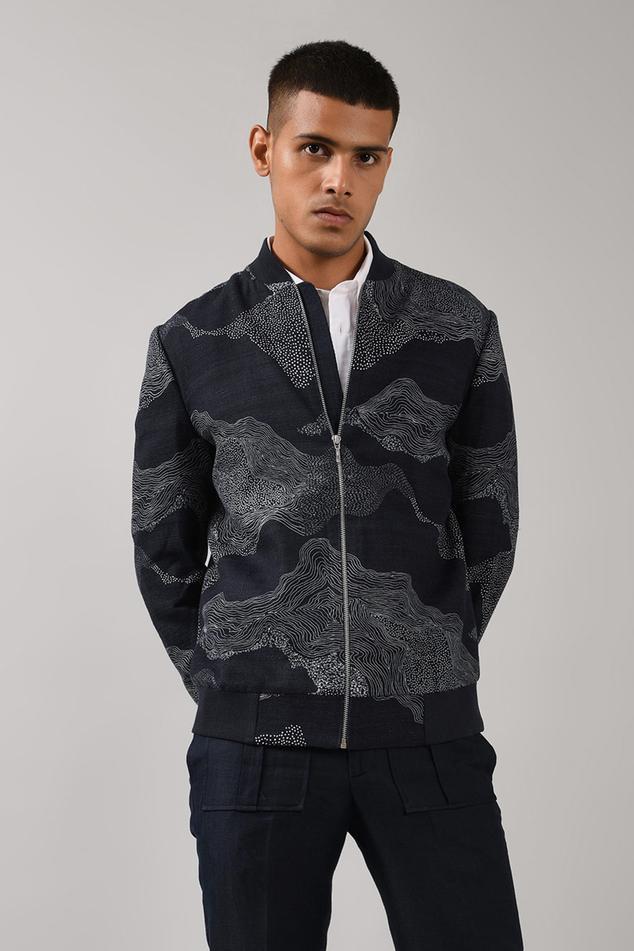 Handloom Cotton Silk Bomber Jacket