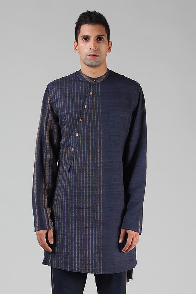Handloom Ahimsa Silk Brocade Short Kurta