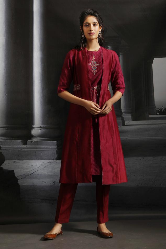Silk Chanderi Jacket & Kurta Set