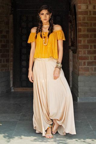 Embellished Top with Draped Pant