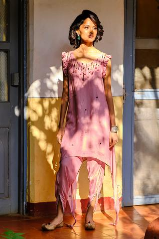 Embellished Kurta & Draped Pant Set