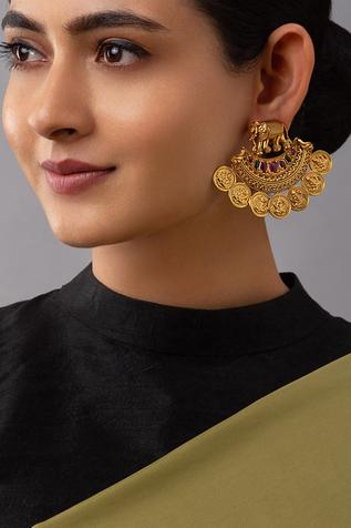 Carved Temple Stone Statement Earrings