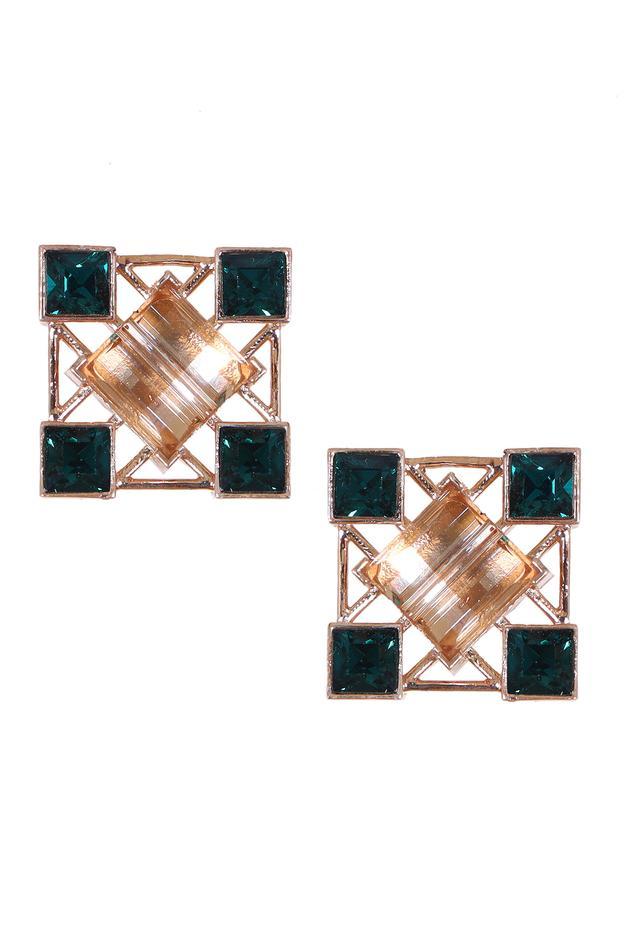 Geometric Crystal Stud Earrings