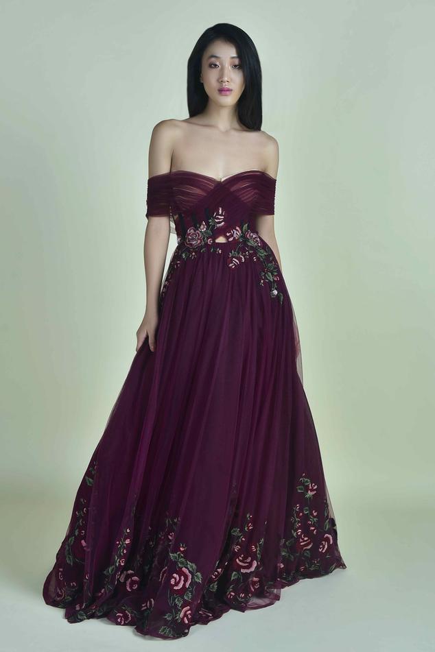 Off Shoulder Flared Gown