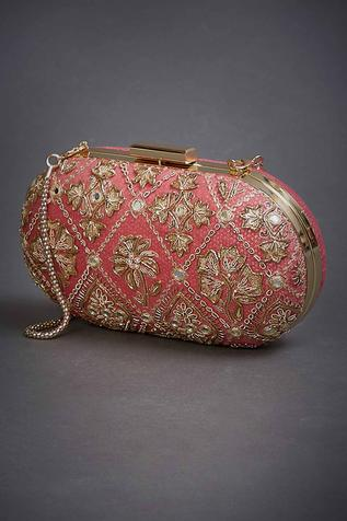Silk Organza Embroidered Clutch with Sling