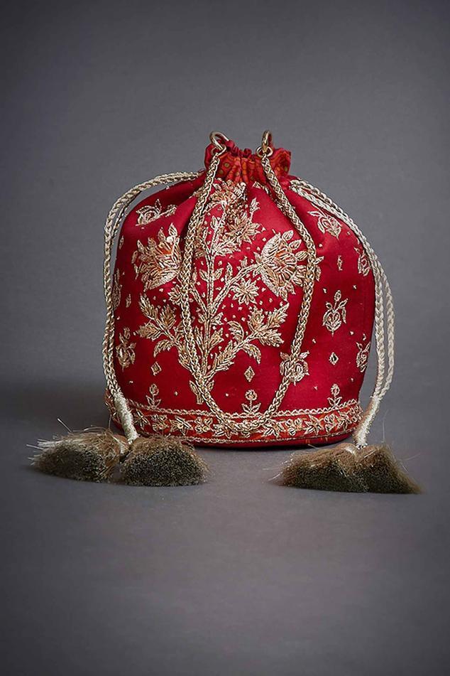 Viscose Satin Embroidered Potli Bag