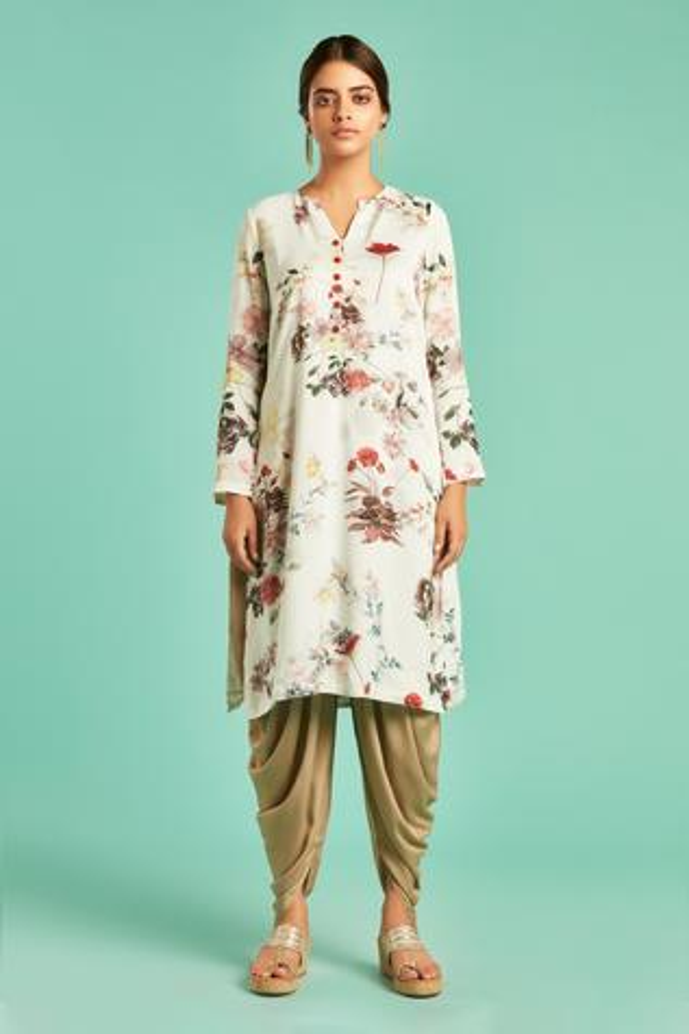 Floral Print Kurta & Dhoti Pant Set