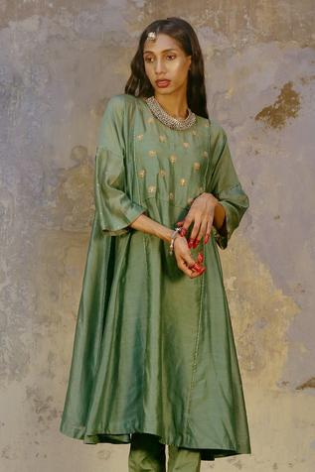 Silk Chanderi Angrakha & Silk Pant Set
