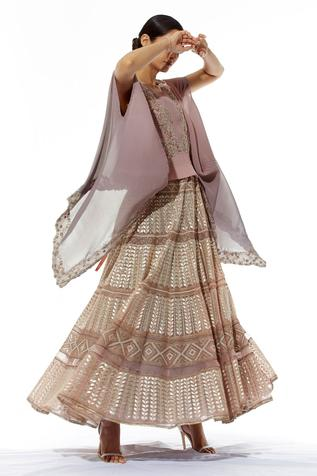 Embroidered Anarkali with Organza Cape