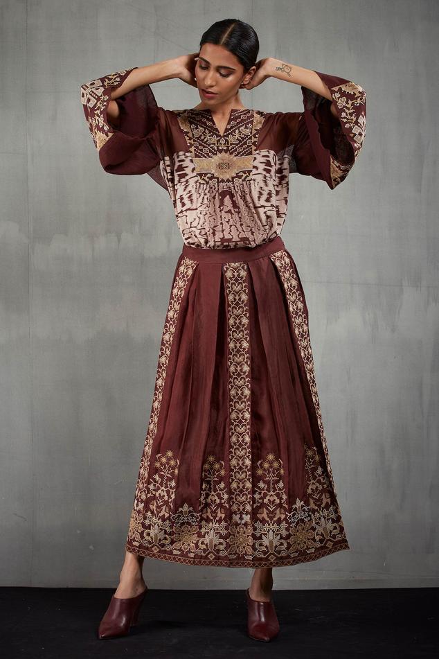 Silk Embroidered Skirt Set