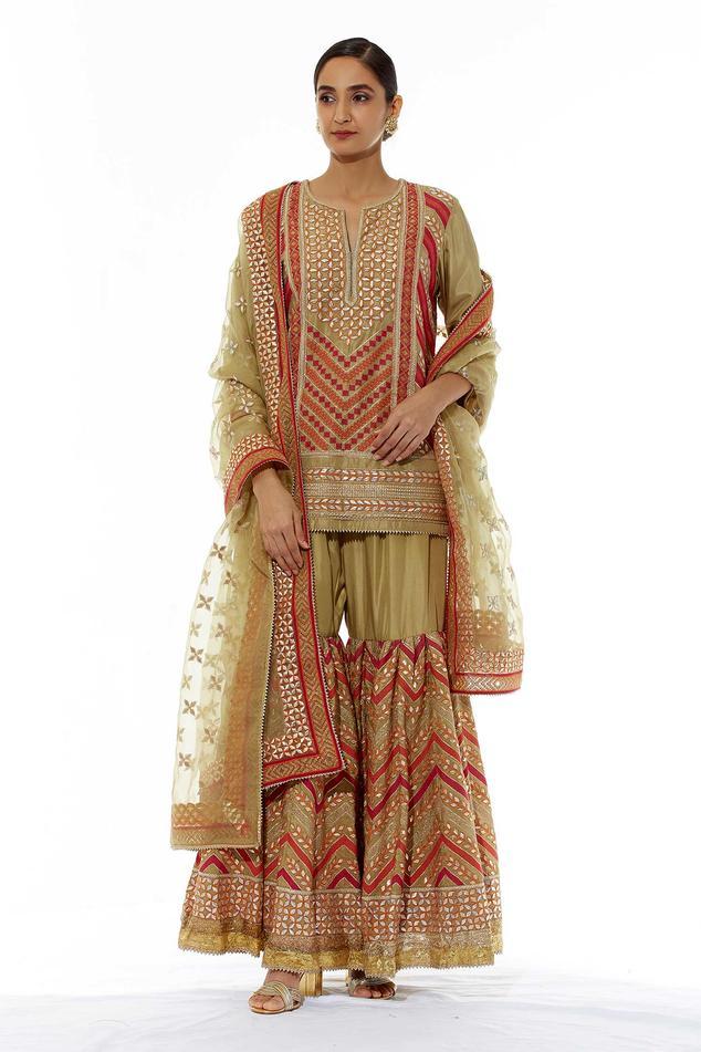 Silk Embroidered Kurta Sharara Set