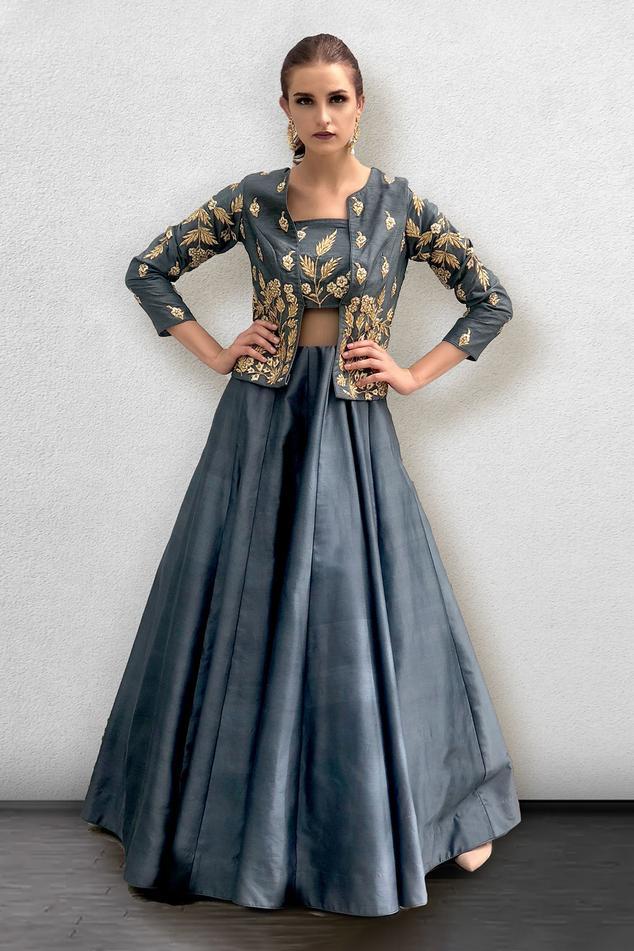 Silk Chanderi Gown with Jacket