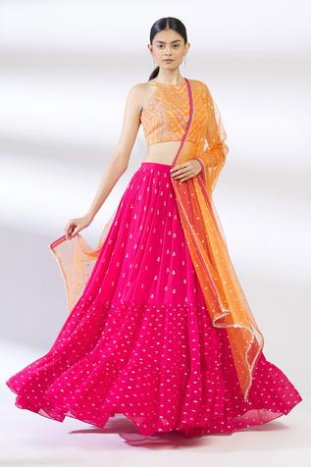 Embroidered Silk Lehenga Set