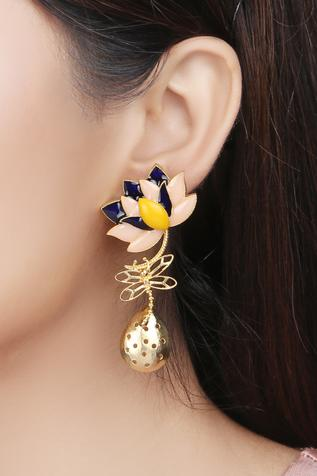 Lotus Enamel Earrings
