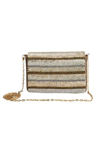 Sequin Flap Clutch with Sling