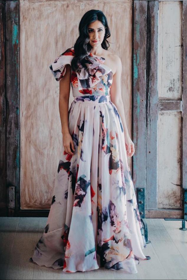 One Shoulder Organza Printed Gown