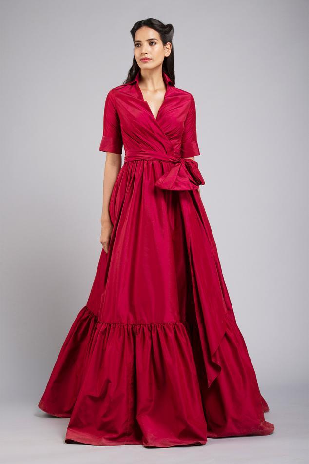 Flounce Hem Wrap Gown