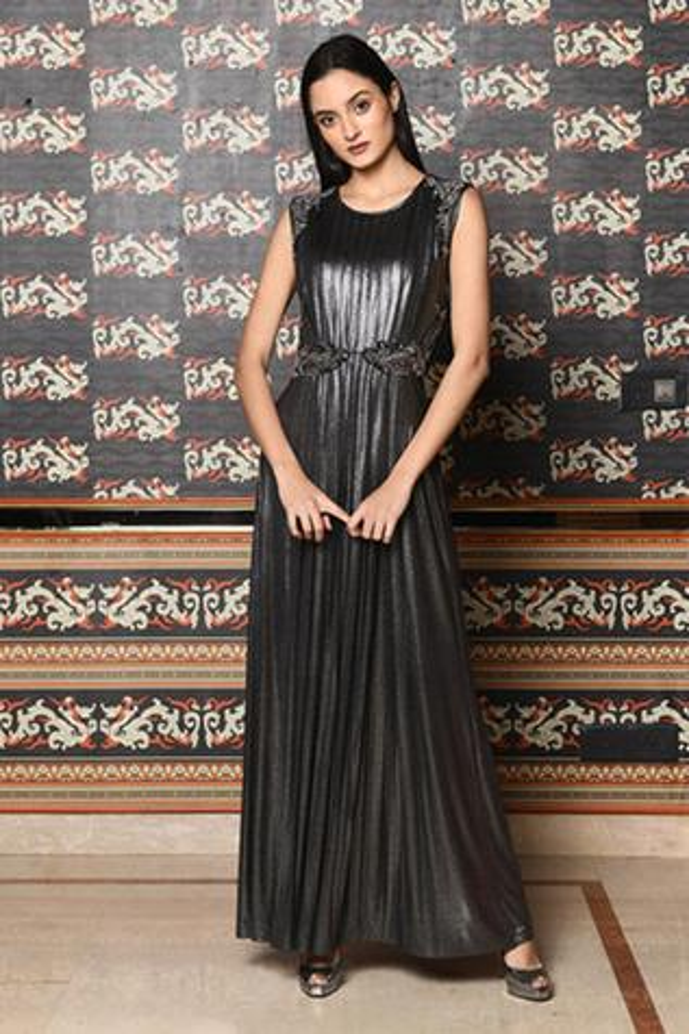 Embellished Metallic Gown