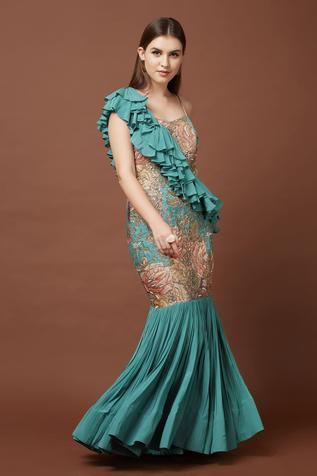 Embroidered Tussar Silk Gown