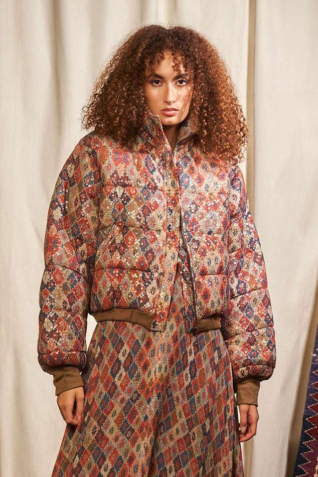 Brick Print Puffer Jacket