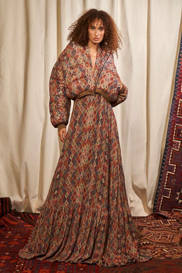Brick Print Maxi Dress