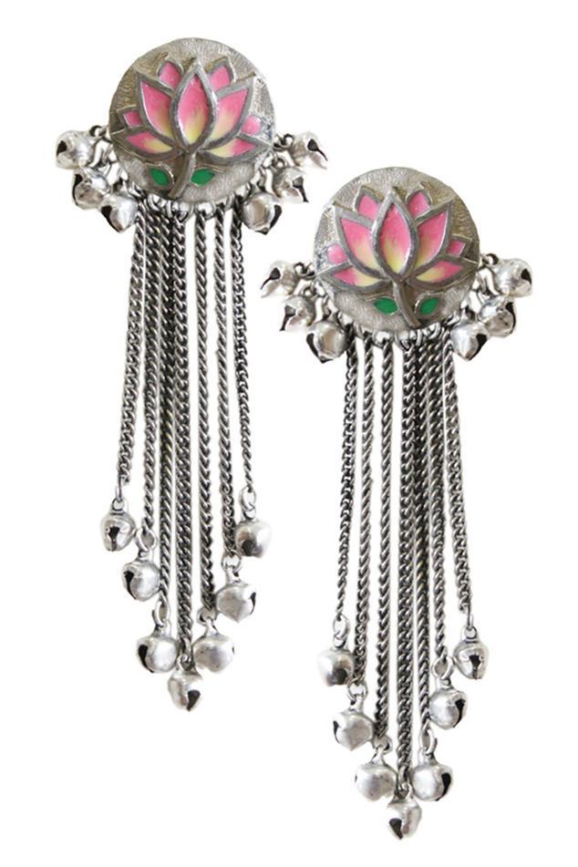 Floral Tassel Long Earrings