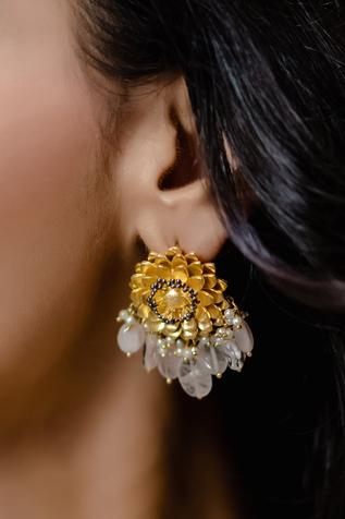 Stone Drop Floral Earrings