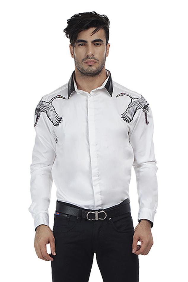 Slim-Fit Patchwork Shirt