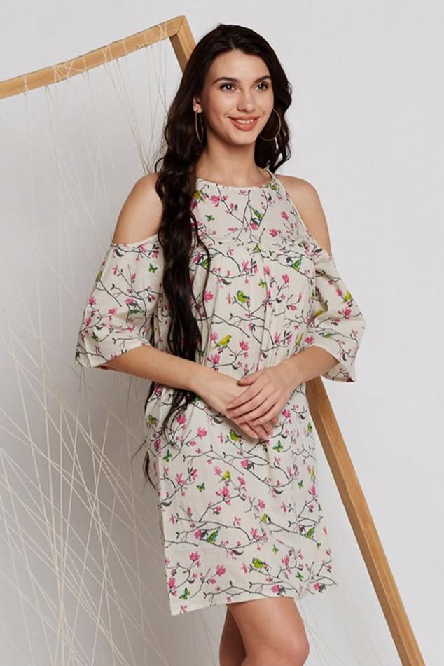 Floral Block Print Cold Shoulder Dress