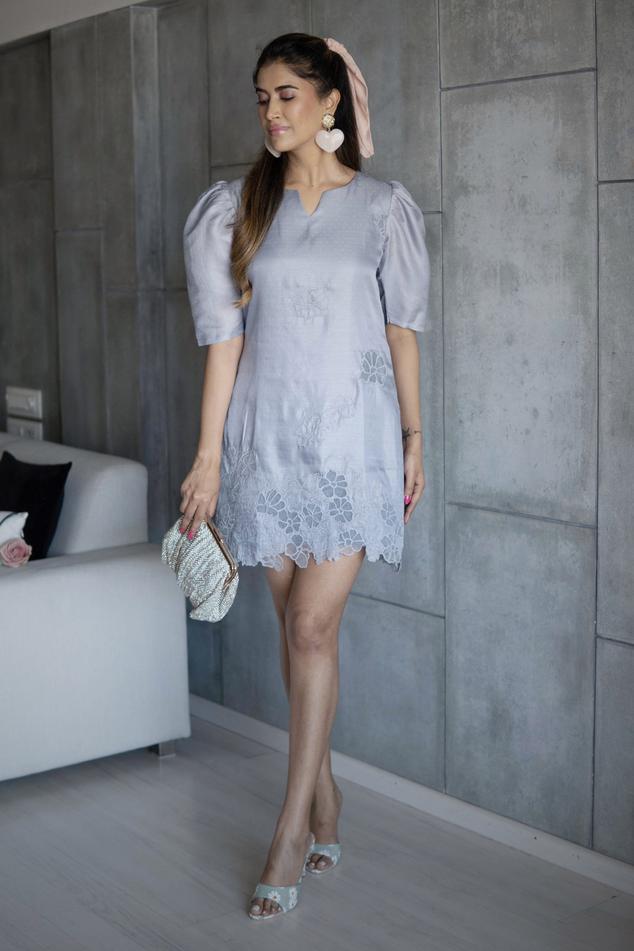 Silk Cutwork Dress