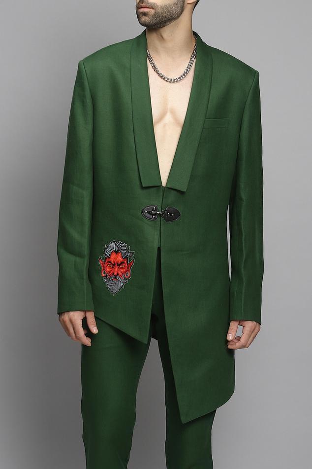 Linen Embroidered Blazer & Pant Set