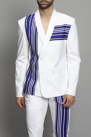 Cotton Striped Blazer & Pant Set