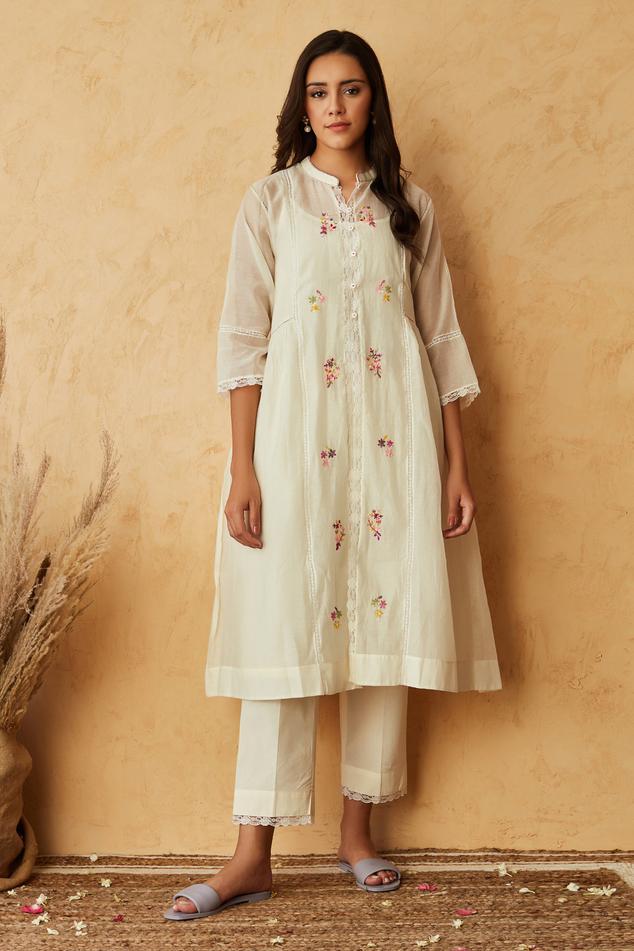 Chanderi Kurta & Cotton Pant Set
